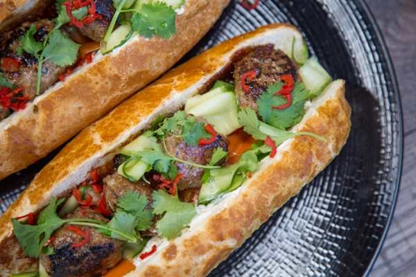 Banh Mi with Pork and Mushroom Meatballs