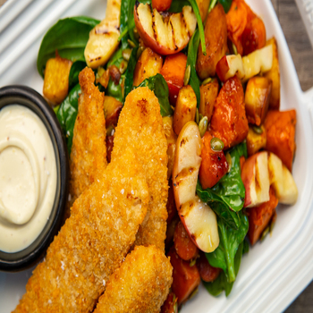 Crumbed Fish with Roast Vegetable  Apple Salad 350x350