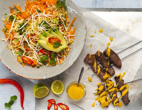 Beef Satay with Easy Peanut Sauce and Avocado Carrot Thai SlawHeroLR f