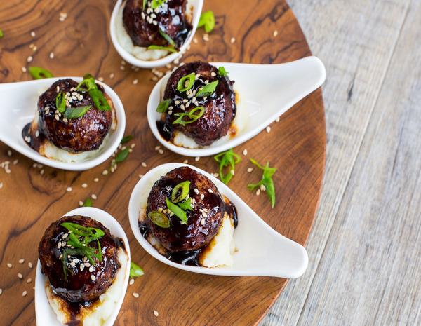 Sticky Asian Meatballs with Sesame Mash 600x465